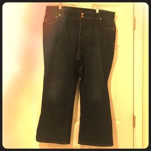 Dark denim boot cut jeans, short length